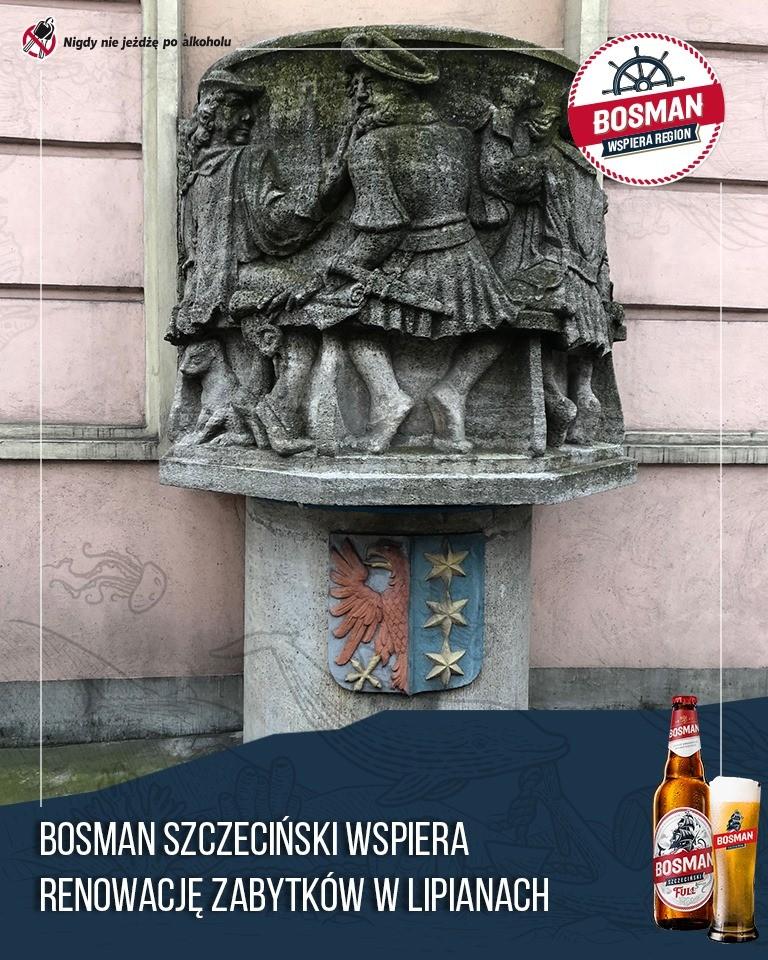 Odnowienie fontanny ukazującej mieszczan raczących się piwem